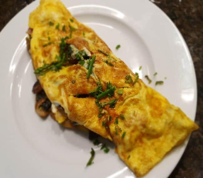 Omelette with mushroom filling